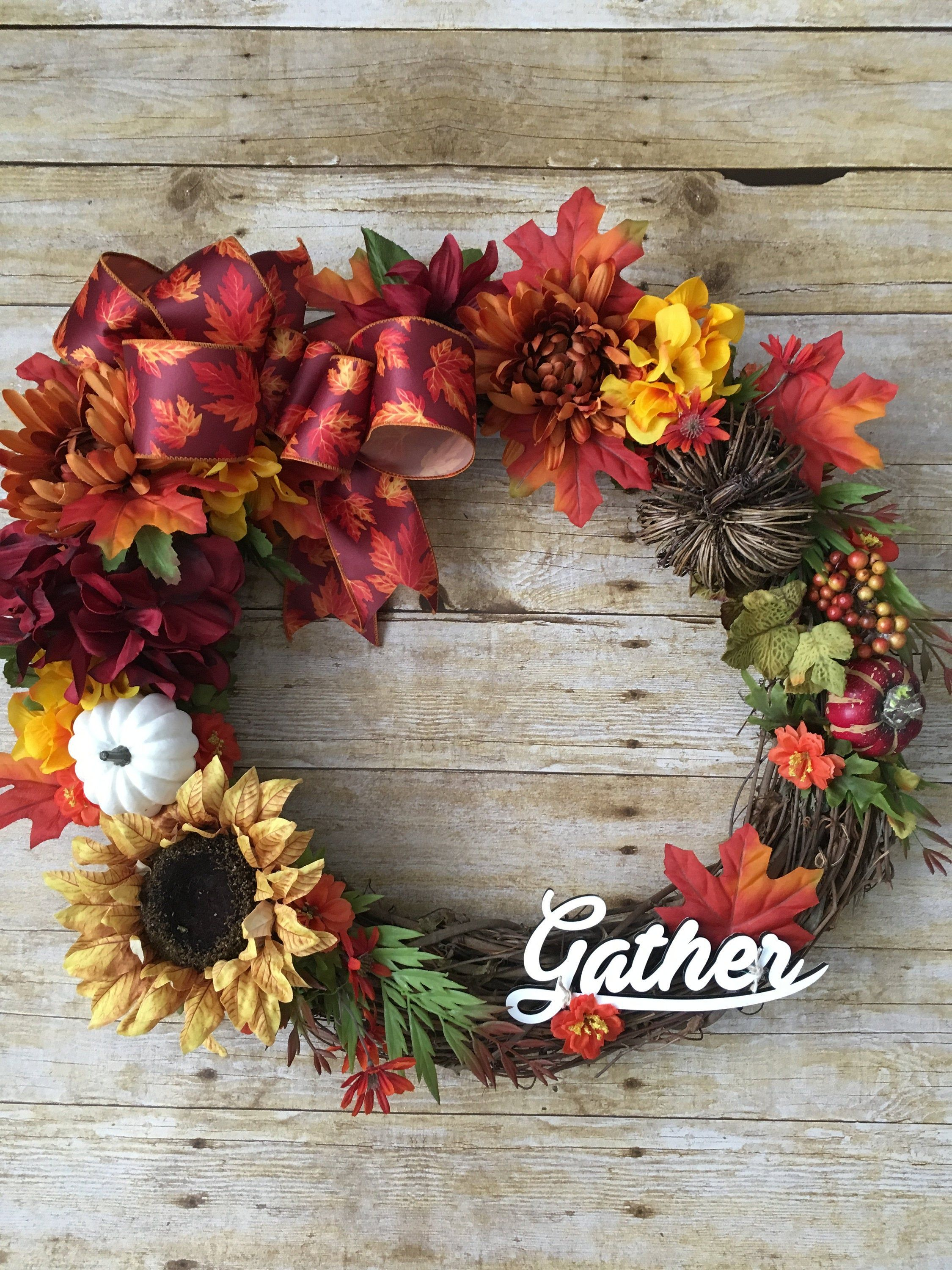 Photo of Fall Wreath, Fall Grapevine Wreath, Year Round Wreath, Front Door Wreath, Autumn Decor, Thanksgiving Decor, Gift for Her, Gather Sign