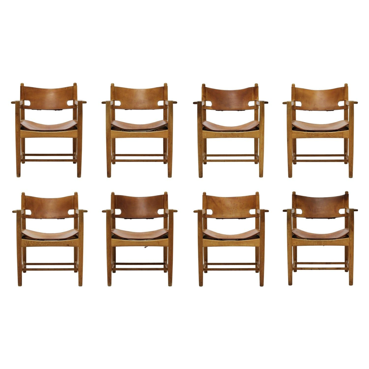 Set Of 8 Borge Mogensen Hunting Chairs In Oak And Patinated Saddle Leather Spanish Dining Chairs Dining Room Chairs Modern Leather Armchair Modern