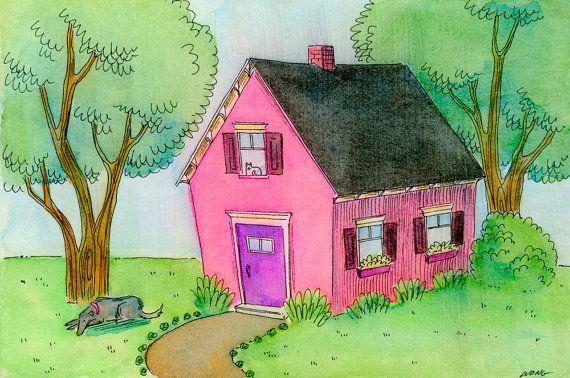 Original 4x6 Painting  Little pink house por PainterNik en Etsy, $75.00