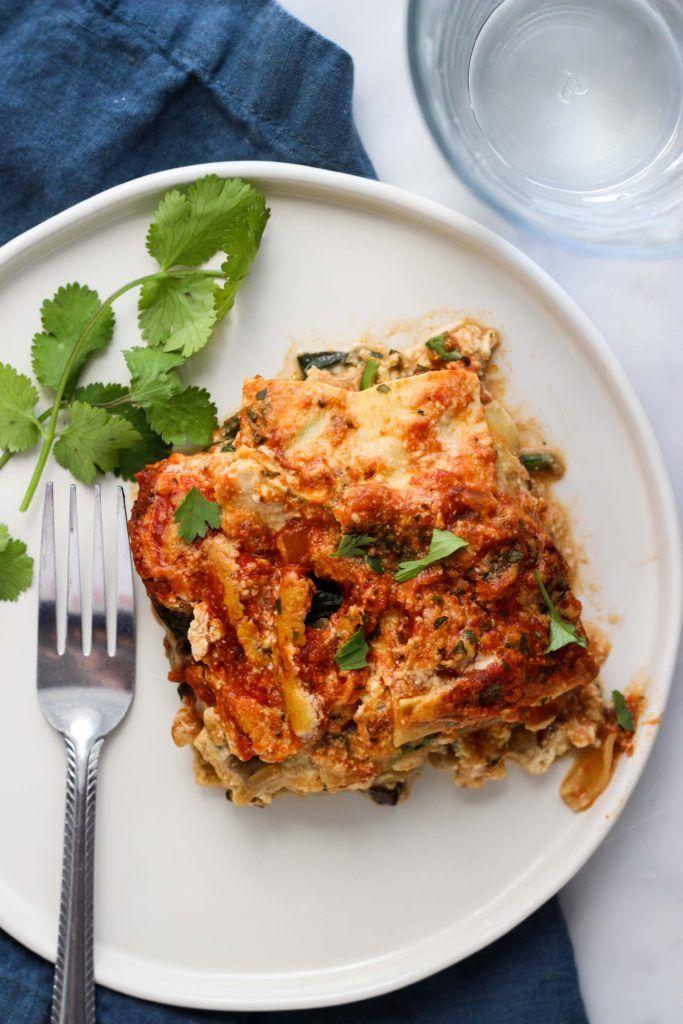 vegan spinach and mushroom lasagna  dietitian debbie