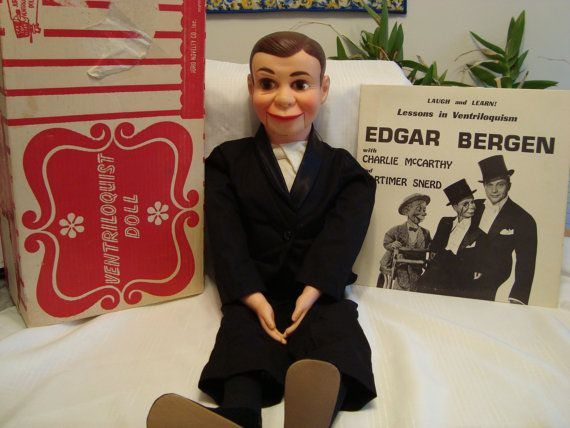 Charlie McCarthy Ventriloquist Doll Dummy (Juro brand 1960's) in original box with a rare accompanying Edgar Bergen Album Record. Description from etsy.com. I searched for this on bing.com/images
