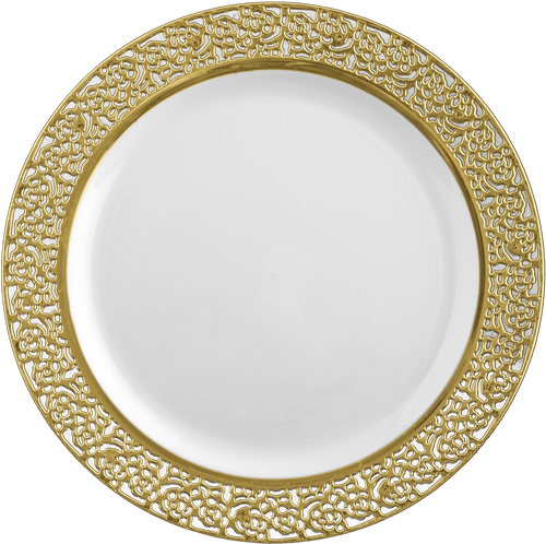 725 White Plastic Salad Plates With Gold Lace