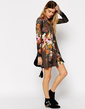 4b205d76ed7 PETITE Babydoll Dress with Long Sleeves in Floral Print | My dream ...