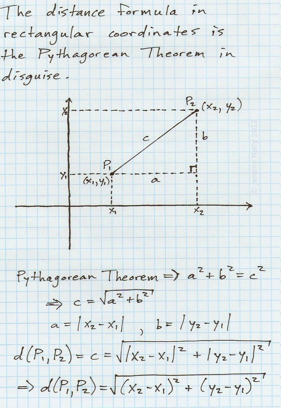 The Distance Formula In Rectangular Cartesian Coordinates Is The Pythagorean Theorem In Disguise A L Distance Formula Geometry Formulas Pythagorean Theorem