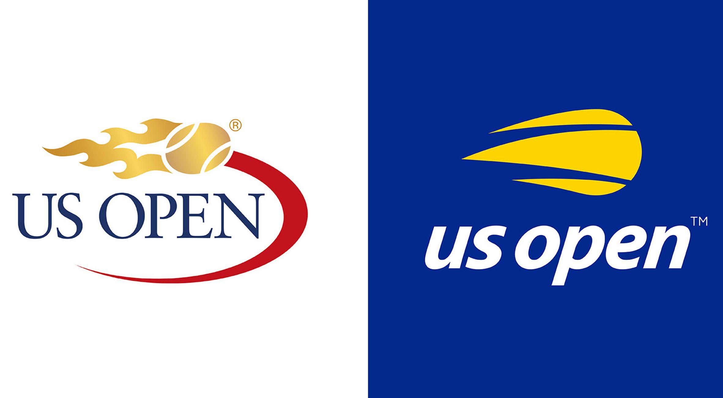 Us Open S Flaming Tennis Ball Logo Receives Minimal Update Logos Logo Redesign School Logos