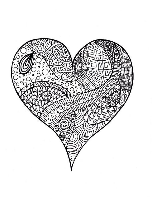 Heart Zentangle Colouring Page Heart Coloring Pages Coloring