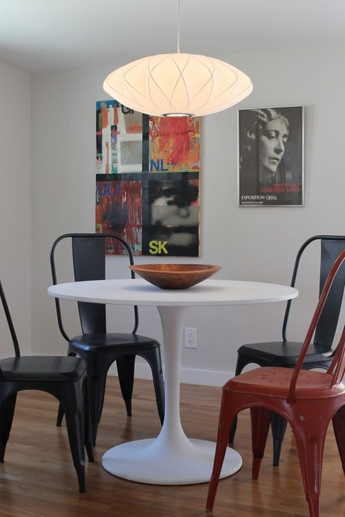 Tolix Chairs And Ikea Docksta Table Tolix Chair Chair Modern Dining Room