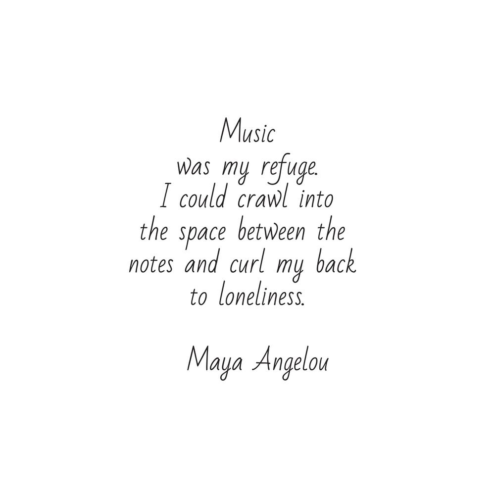Music was my refuge -  Maya Angelou Framed Art Print by InpireMe
