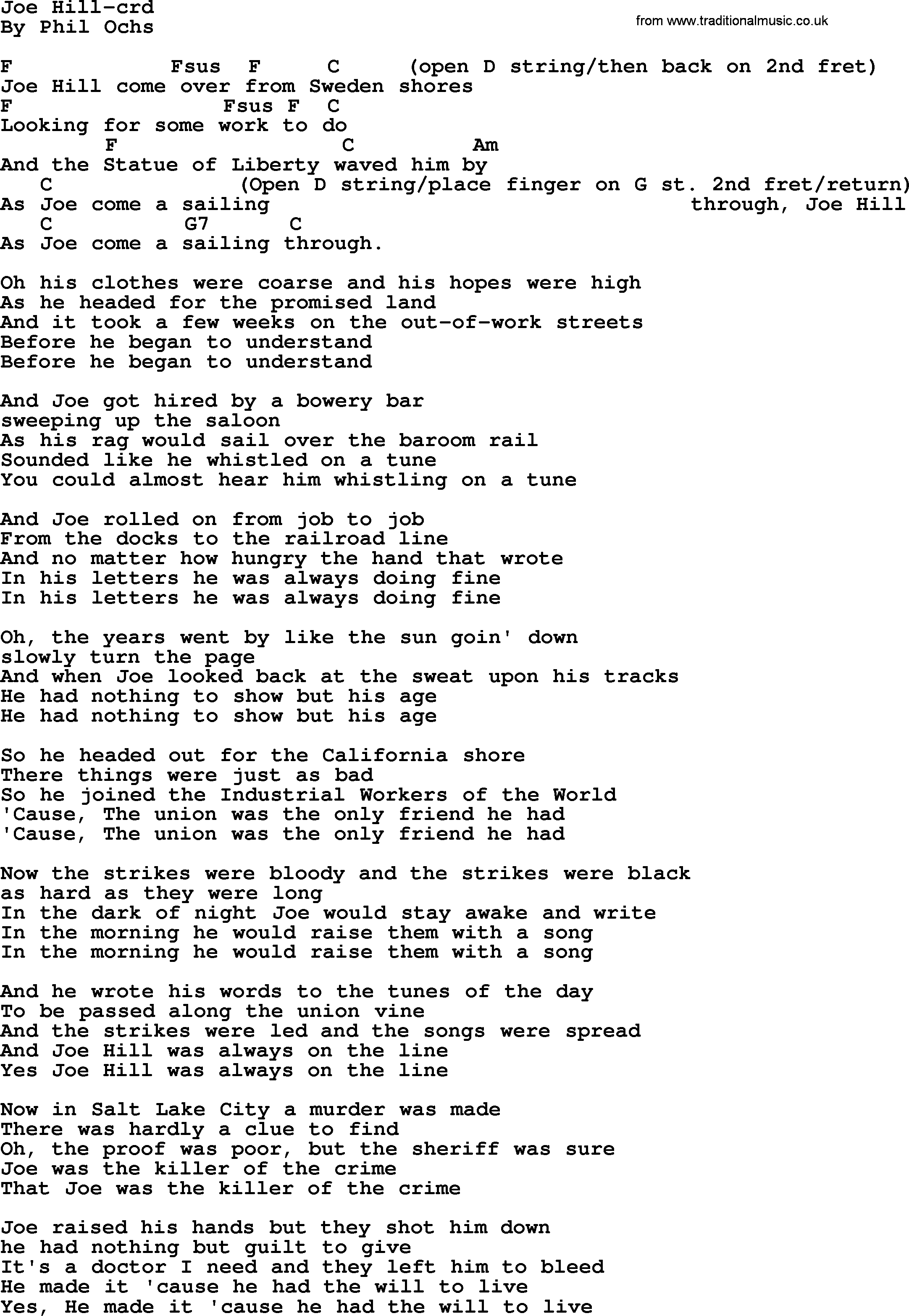 Phil Ochs Song Joe Hill By Phil Ochs Lyrics And Chords Phil Ochs