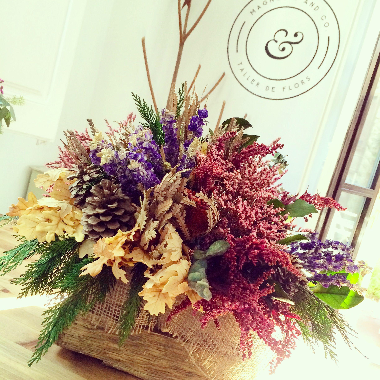Caja de madera con flor seca con diferentes tonos flor seca pinterest flores secas seco y - Plantas secas decoracion ...