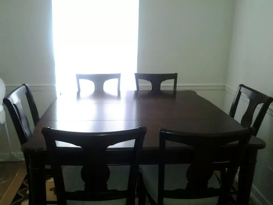 pub height cherry wood dining table with 6 cushioned chairs! in