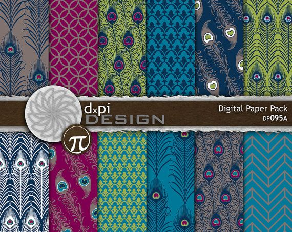PEACOCK FEATHERS  Digital Paper with Art Nouveau by dxpidesign, $4.50