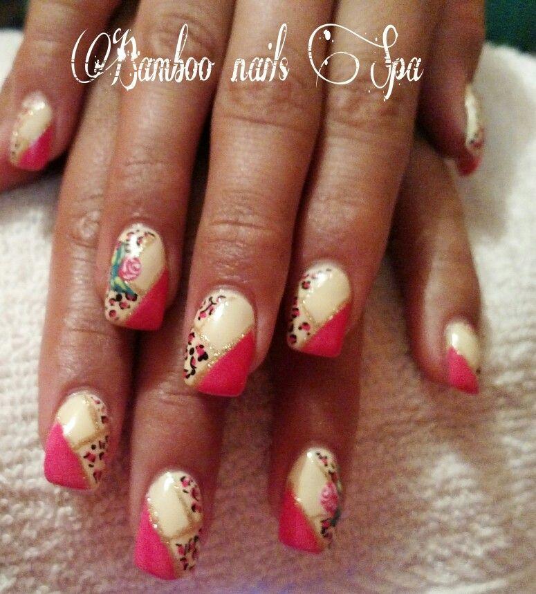 Gelish Con animal print bamboo nails Spa vicky 4422068757