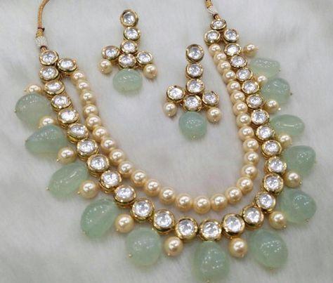 Indian Kundan Jewelry Necklace Set with earrings Stones Kundan Gold