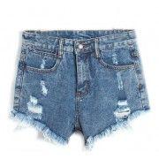 Short Jeans Cintura Alta Destroyed