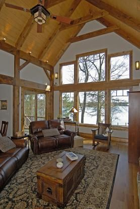 Timber frame home great room great rooms pinterest for Timber frame great room