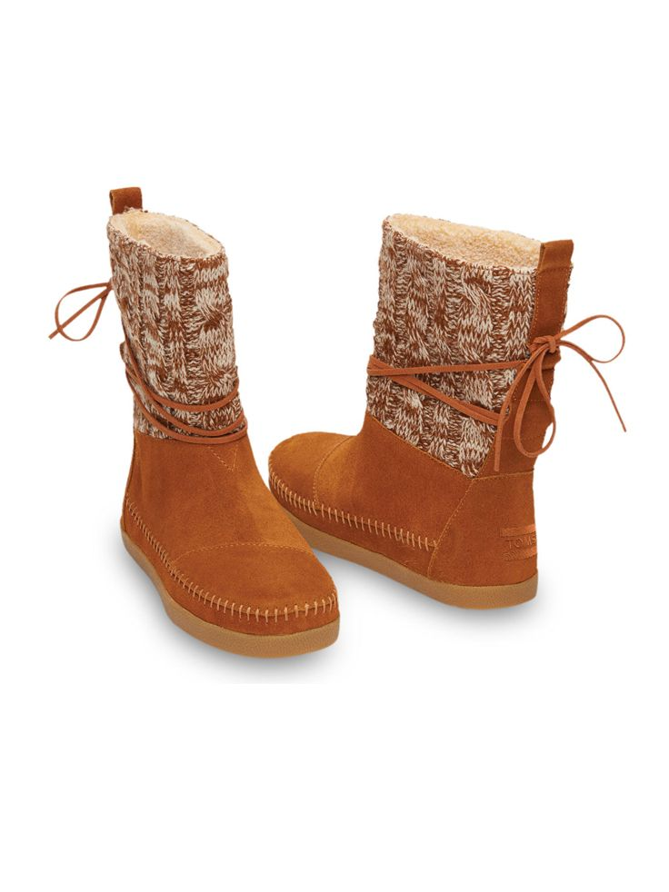 90ff217843b Sturdy and cozy - TOMS women s Chestnut Cable Knit Suede Nepal Boots ...