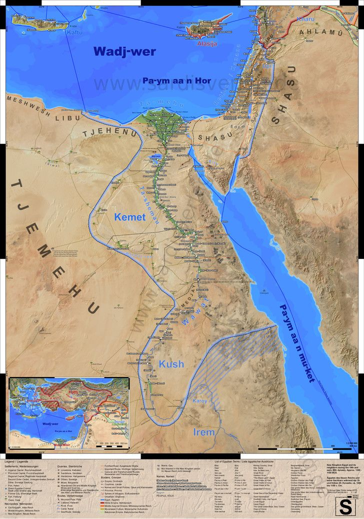 Detailed Map of Ancient Egypt and Surroundings during