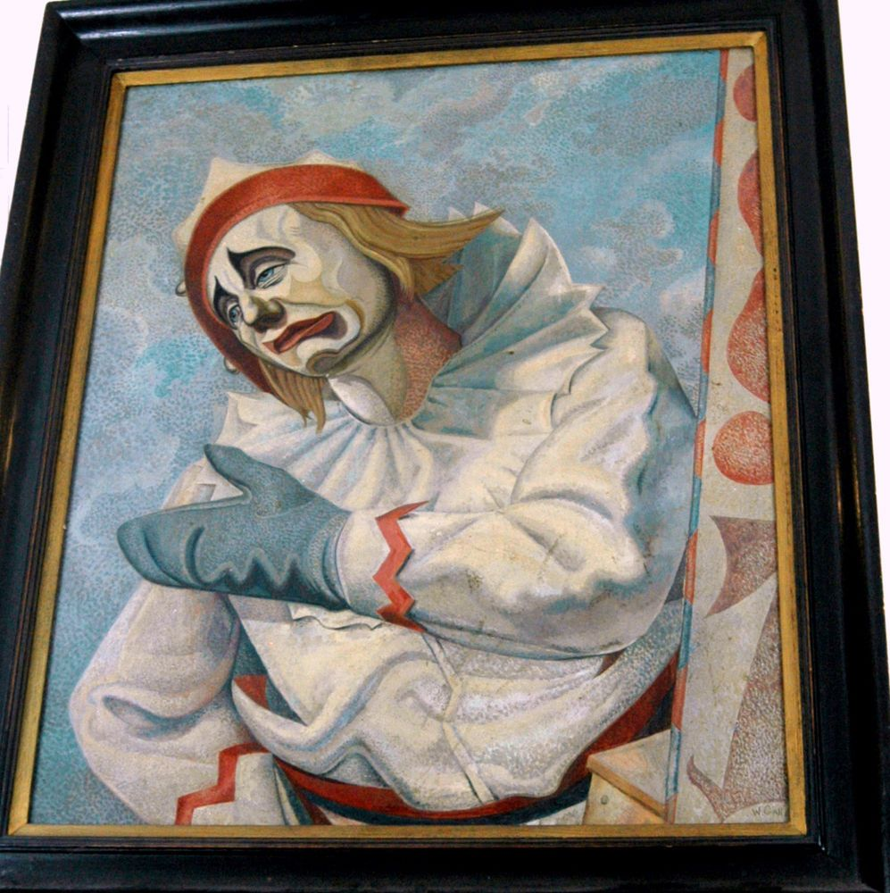 large vintage original pagliacci sad crying clown oil painting
