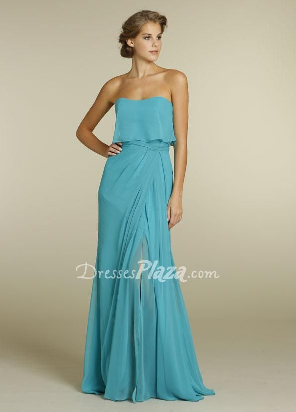 #sexy #blue #chiffon #strapless #aline floor length #slit #eveningdress
