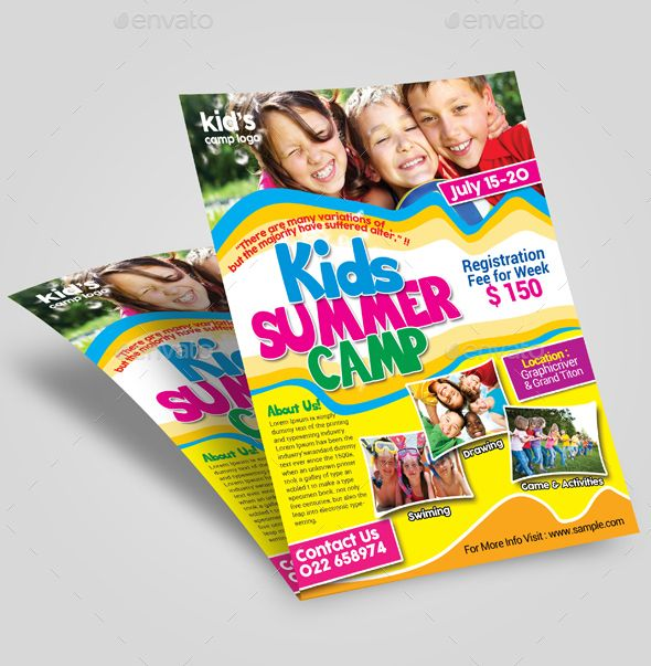 Kids Summer Camp Flyer Template  Print Design Market  Flyer