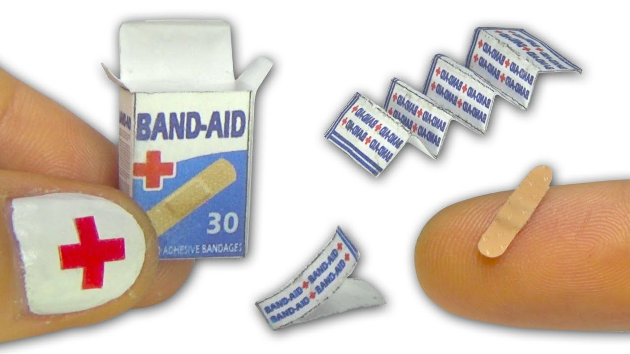 Miniature doll band-aid or adhesive bandages strips and box tutorial - D... #miniaturedolls