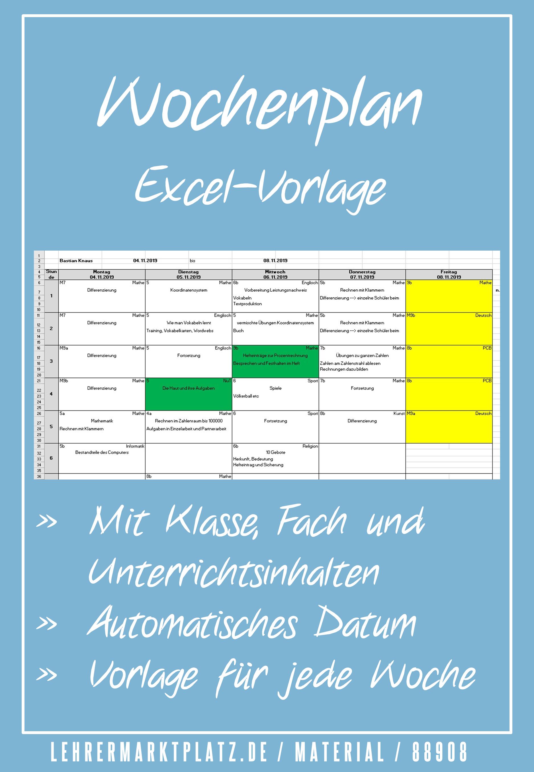 Wochenplan Vorlage In Excel Unterrichtsmaterial Im Fach Fachubergreifendes Unterrichtsplanung Wochenplan Vorlage Unterrichts Planung