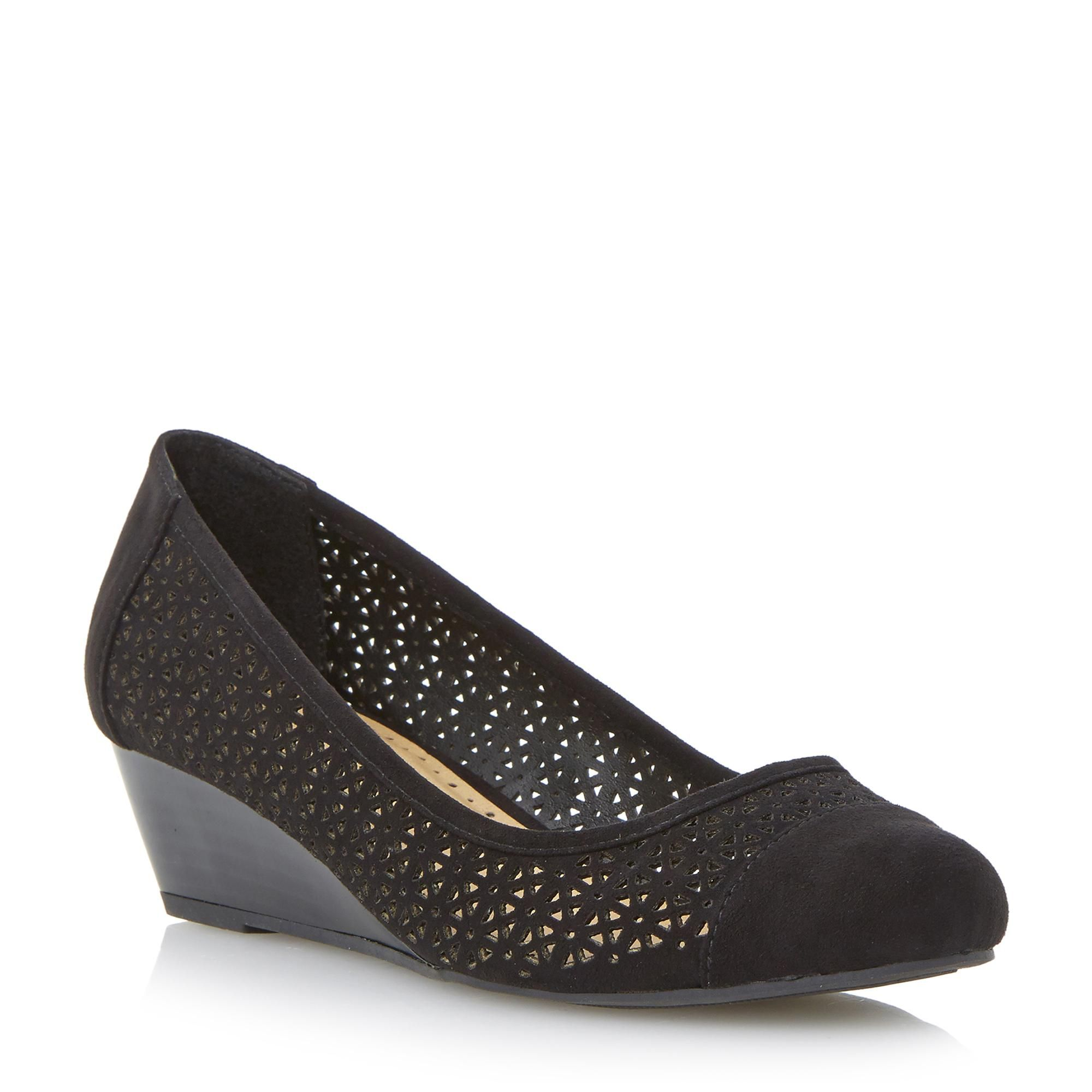 Roberto Vianni Ladies ALVEY - Laser Cut Wedge Shoe - black | Dune ...