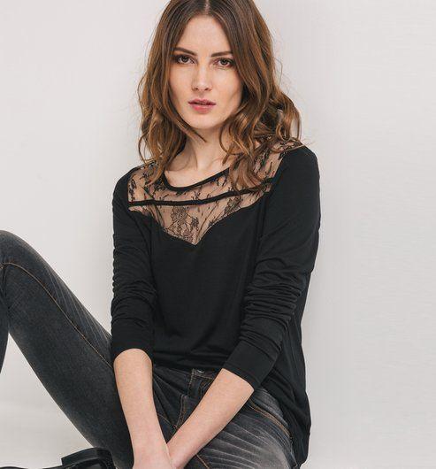 cfd3b301b2 Camiseta con encaje negro - Promod Irodai Divat, Blúzok, Csipke, Pólók,  Fekete