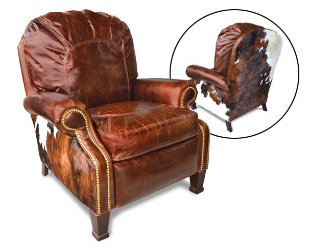 castle recliner cowhide and leather