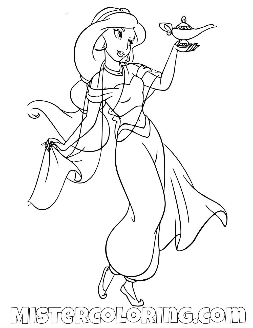 Princess Jasmine Holding Genie Lamp Aladdin Coloring Page For Kids