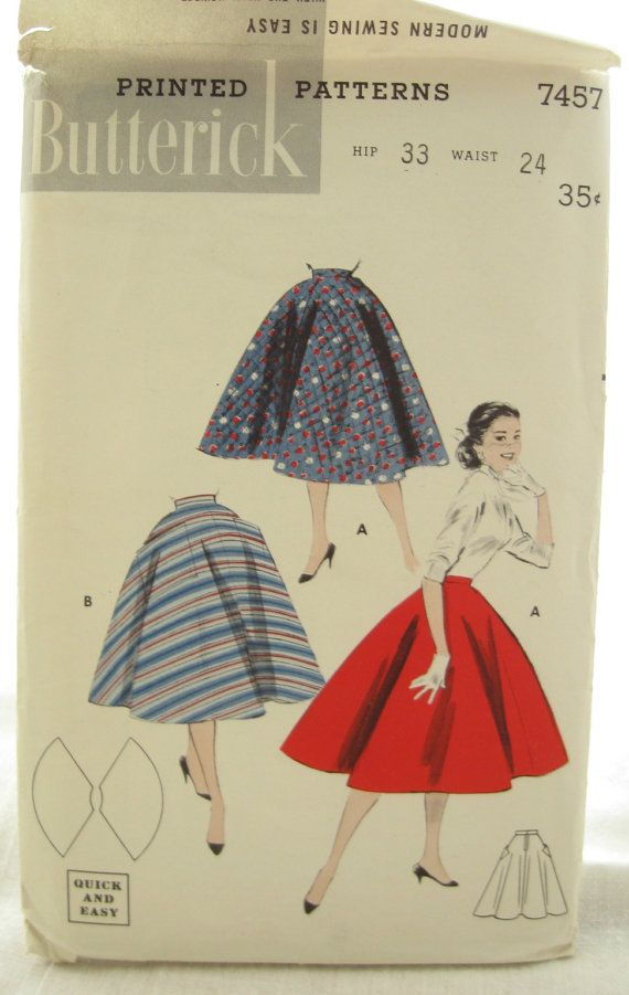 Butterick 7457 1950s Circle Skirt Pattern Easy Sew with Pockets ...