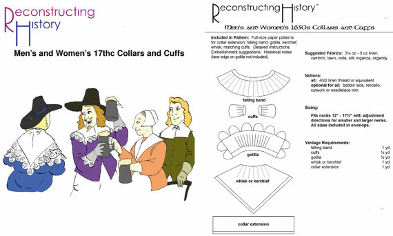 RECONSTRUCTING HISTORY PAPER PATTERN MEN/'S /& WOMEN/'S 1630s COLLARS AND CUFFS