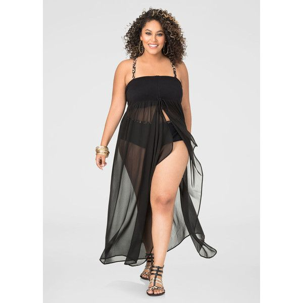 2ccf122f9c0c5 Ashley Stewart 2-In-1 Chiffon Swim Cover-Up ($60) ❤ liked on Polyvore  featuring swimwear, cover-ups, plus size cover ups, womens plus size  swimwear, ...