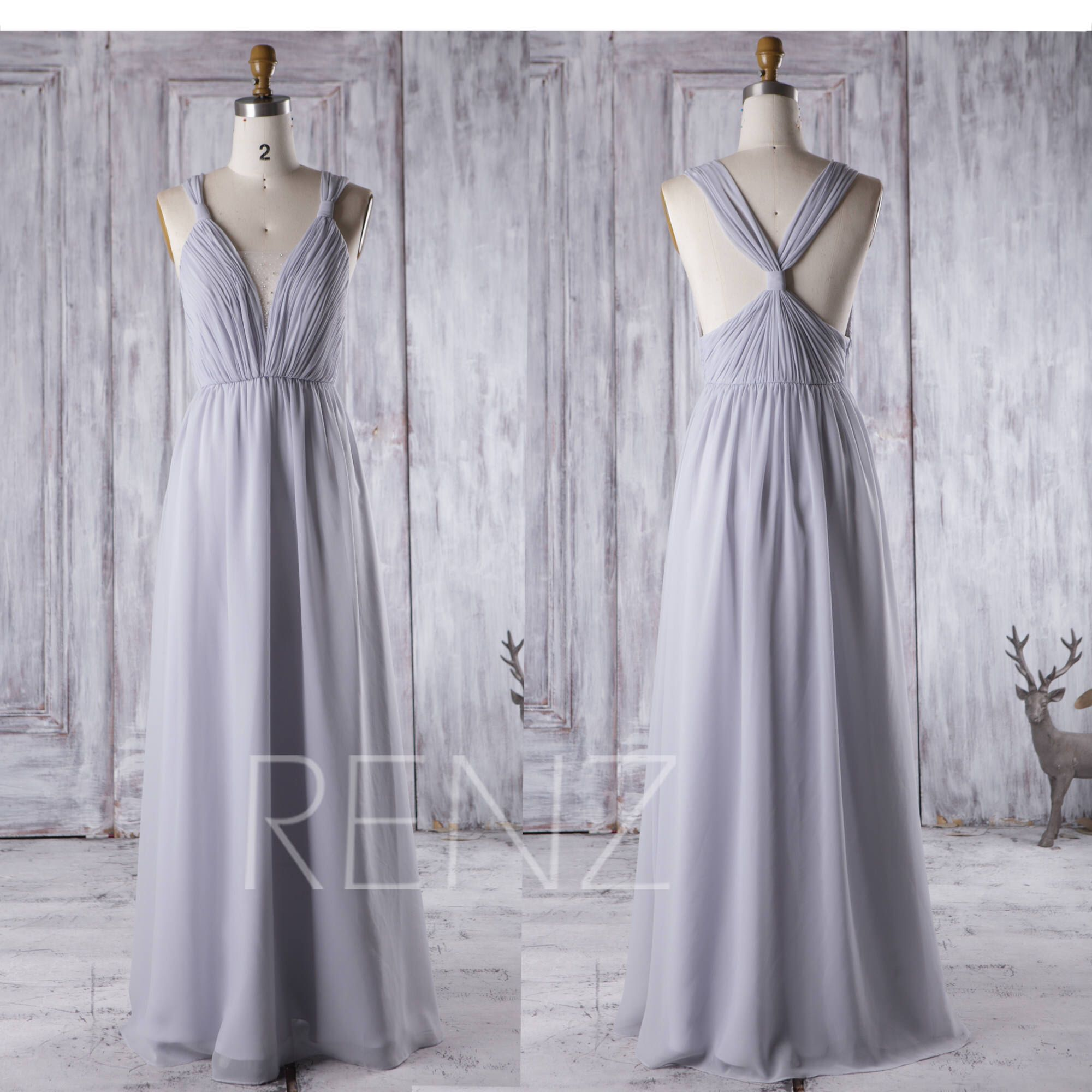 Bridesmaid Dress Light Gray Wedding Dress Beaded,Deep V Neck Ball ...