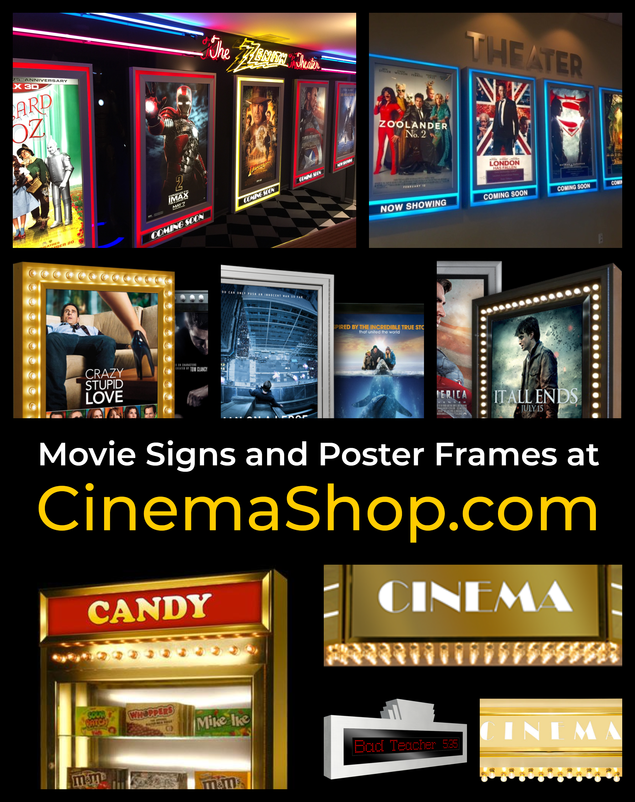 backlit movie poster frames and theater