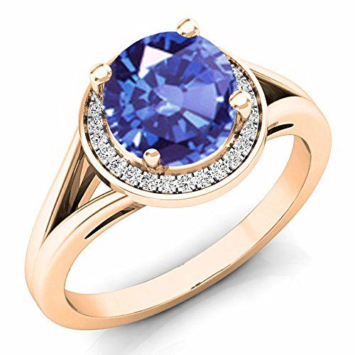 14K Gold 7 MM Tanzanite & White Diamond Halo Style Bridal Engagement Ring