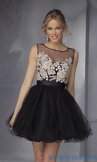 02003ef8640 Shop SimplyDresses for high neck party dresses and short formal dresses in  black. Mori Lee short homecoming dress with trendy sheer bodice.