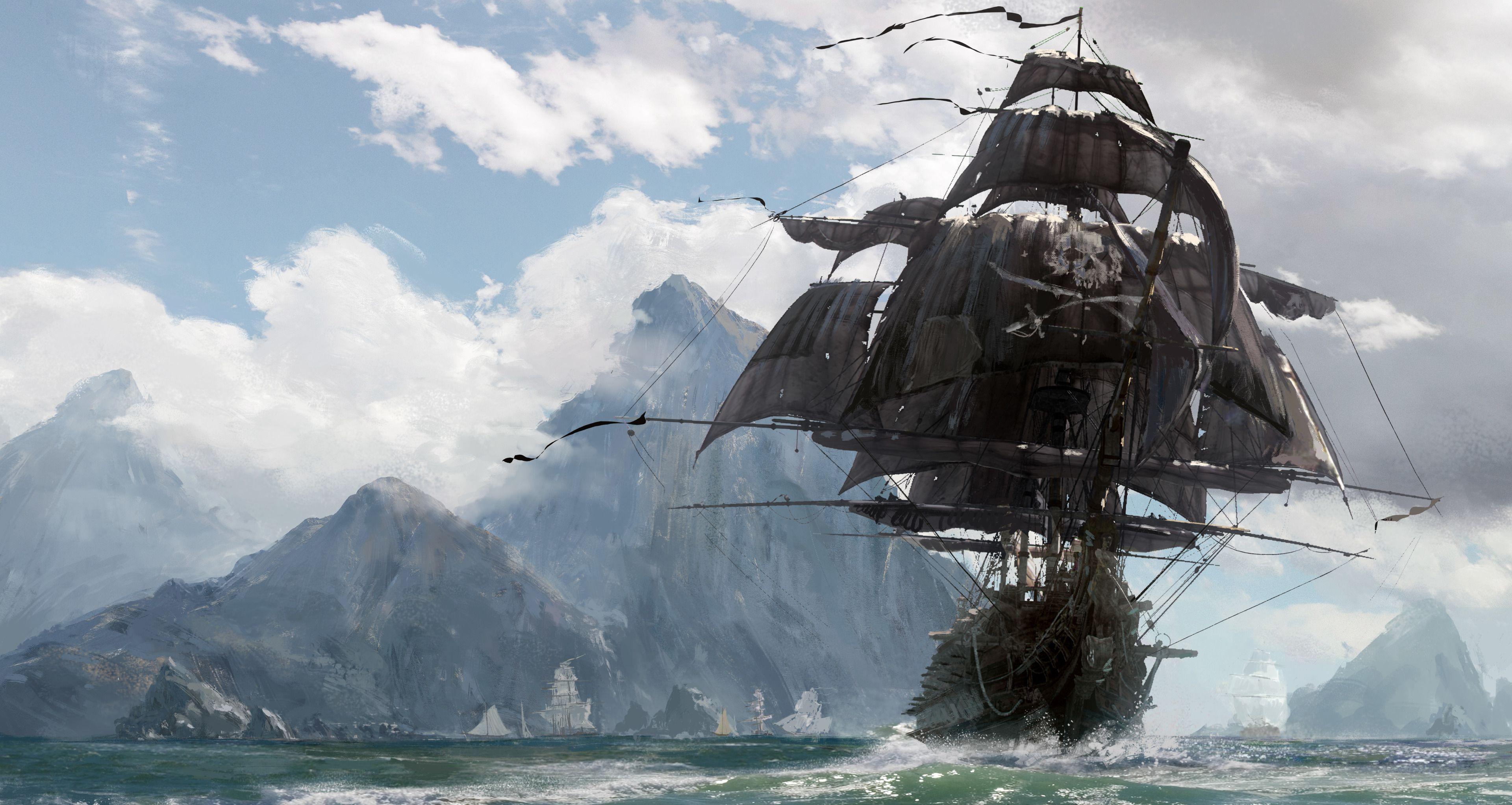 Дню рождения, картинки пиратских кораблей