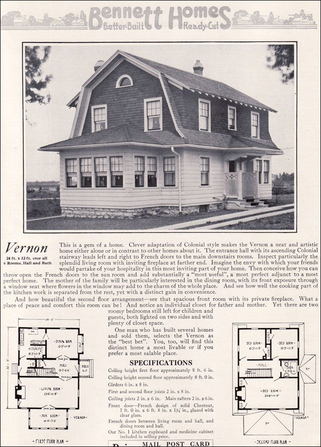Dutch colonial revival 1922 vernon by bennett homes for Dutch colonial house plans