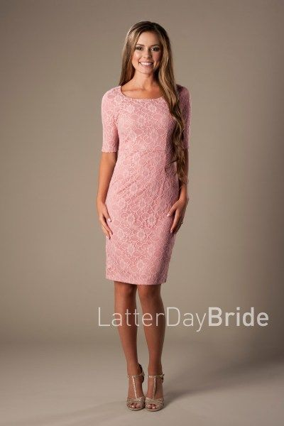 78e262700ac8 rose lace modest dresses, MDS 1611 with a pencil skirt and half sleeve at  LatterDayBride