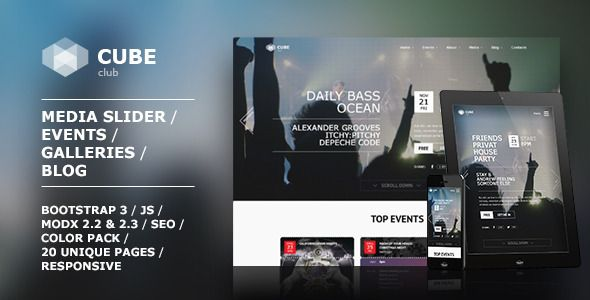 Club Cube v.2 - responsive MODX theme for night club | Pinterest