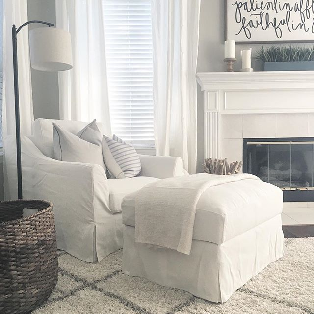 Ikea Farlov Sofa Canape Blanc Fauteuil Repose Pied Pouf Ikea Living Room Home Living Room Living Room Chairs