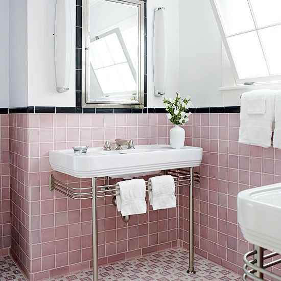 33 Pink And Black Bathroom Tile Ideas And Pictures Modern Vintage Bathroom Vintage Bathroom Decor Retro Bathrooms