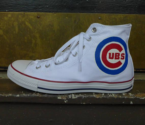 Chicago Cubs Baseball Hand Painted Converse Chuck Taylor All