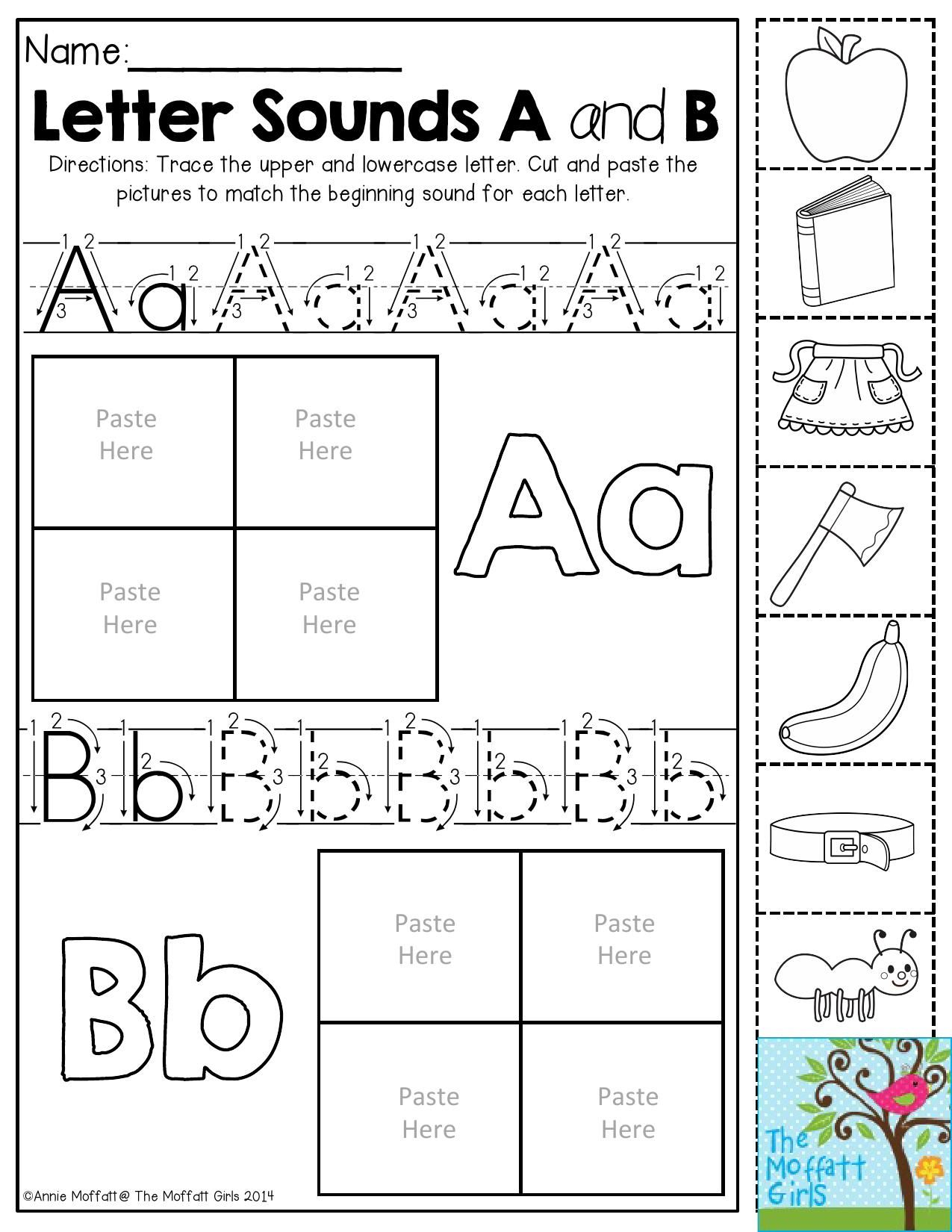 Letter Sounds- Trace the letters. Then cut and paste the pictures to ...