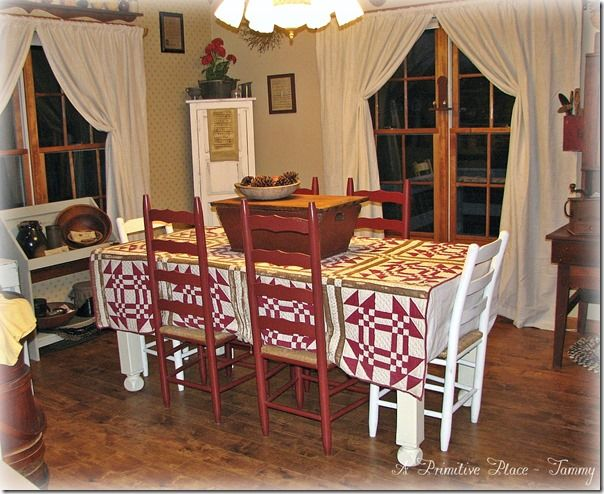 Farmhouse Primitive Dining Room    A Primitive Place ~ Tammy  www.aprimitiveplace.net