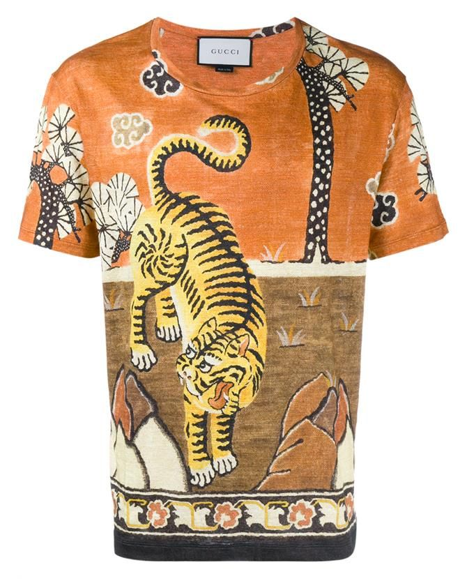 dea28bdc4 GUCCI Tiger Print Linen Jersey T-Shirt. #gucci #cloth # | Gucci Men ...