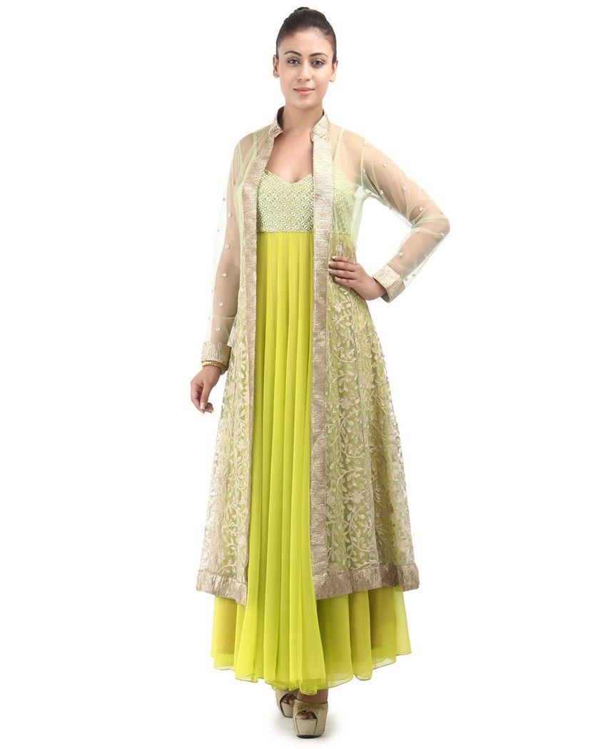 Lime green long anarkali dress with long embroidered jacket 1 ...