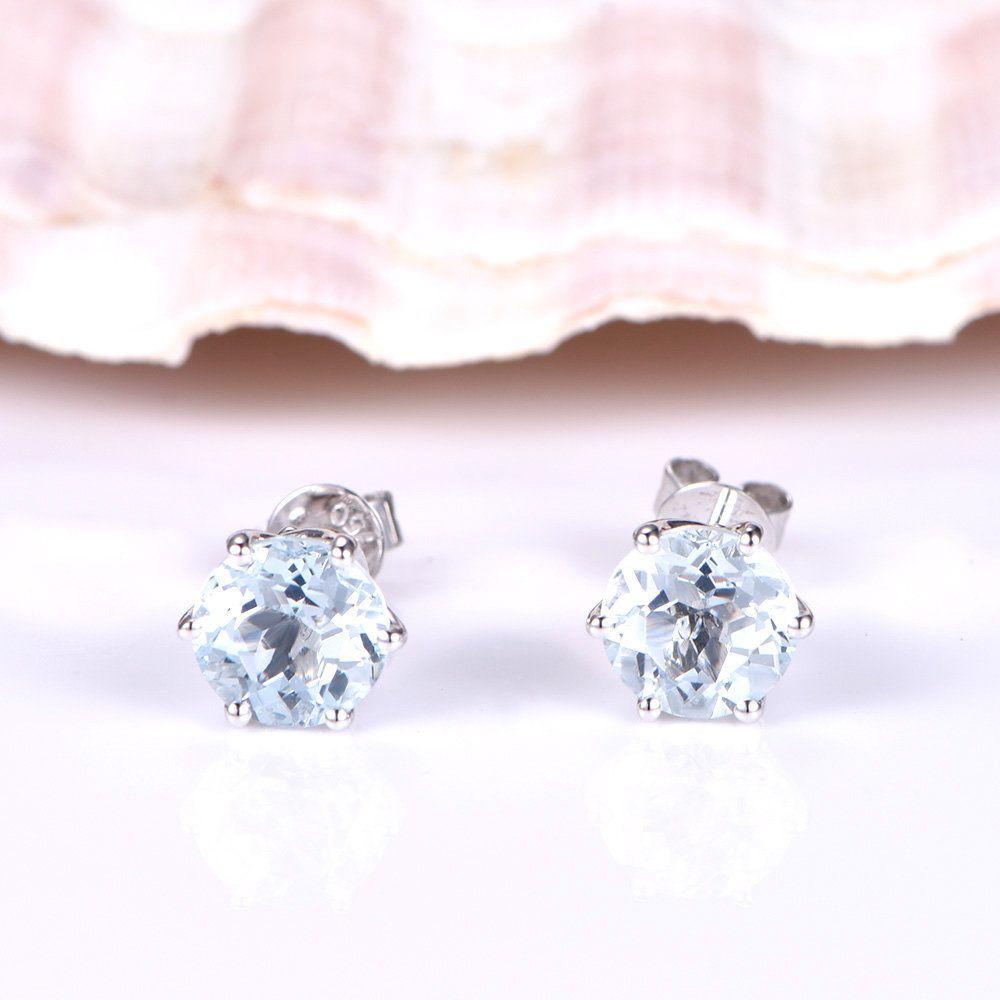 14K Yellow Gold Oval Aquamarine March Stone /& Diamond Post Earrings